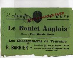 """37 - TOURS - BUVARD """" LE BOULET ANGLAIS """" LES CHARBONNIERES DE TOURAINE - R. BARRIER -53 RUE DU SANITAS - Buvards, Protège-cahiers Illustrés"""