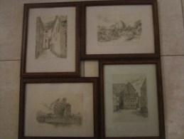 Liège - 4 Lithographies Signées Müller - Le Petit Paradis, Rue Mére-Dieu, Chateau-Massart, Verrerie D'Avroy - Lithographies