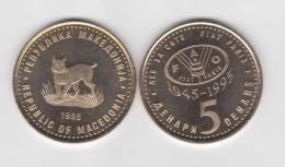 MACEDONIA    5   DINARES 1.995  LATON  FAO  KM#7    SC/UNC    DL-9596 - Macedonia