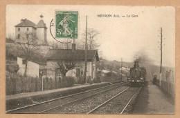 NEYRON (Ain). -- La Gare - Voyagée 1911 - GARE - TRAIN - France