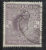 GREAT BRITAIN GRAN BRETAGNA 1902 KING EDWARD VII 2/6 RE EDOARDO LILAC USATO PERFIN USED OBLITERE' - 1902-1951 (Re)