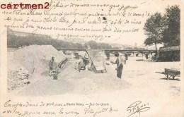 PARIS VECU SUR LES QUAIS TRAVAUX SUR LES BERGES DE SEINE 1900 - Straßenhandel Und Kleingewerbe