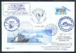 RUSSIA 2010 COVER Used SHIP GOLOVNIN PAQUEBOT ANTARCTIC ARGENTINA BASE ESPERANZA AMBASSY HELICOPTER KAMOV KA-32 Mailed - Polare Shiffe & Eisbrecher