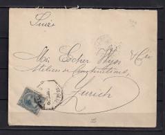 1900 SOBRE CIRCULADO A ZÜRICH, MAT. AMBULANTE DESCENDENTE NORTE, ED. 221, 25 CTS. AZUL., AL DORSO LLEGADA - 1889-1931 Reino: Alfonso XIII