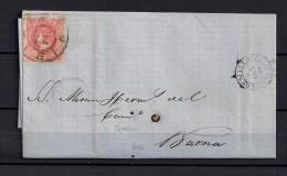 1864 PALMA DE MALLORCA, CARTA COMPLETA CIRCULADA A BARCELONA, 4 CUARTOS, RUEDA DE CARRETA 37 - 1850-68 Königreich: Isabella II.