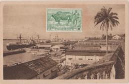CAMEROUN,CAMEROON,DOUARA, WOURI,PORT,BATEAU FRANCAIS,COLONIE,CARTE AVEC TIMBRE,photo Goethe - Cameroun