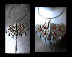 Très Grand Pectoral Tekké XIXème Turcmène Torqué / Old Turkmeni Silver, Amber And Cornalian Necklace - Etnica