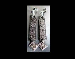 Boucles D'oreille De Fez En Vermeil Ajouré / Old Fez Golden Silver Earrings - Orecchini