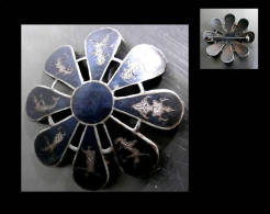 Ancienne Broche Du Siam Rare Forme De Fleur / Old Siam Silver Broach Rare Shape - Spille