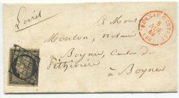 n�3 + Grille + cachet rouge Bureau Central (60) / lettre  de Paris pour Boynes, canton de Pithiviers (loiret)