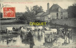 Cpa 72 Courcité, Bas Du Bourg, L'Abreuvoir, Carte Pas Courante Affranchie 1909 Et Cachet Ovale - Autres Communes