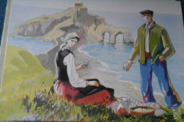 Gaztelugache  Estampes Basques Illustrateur Guenaga - España