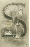 FANTAISIE ILLUSTRATEUR ALPHABET LETTRE S ART NOUVEAU FEMME ENFANT POSTKARTE CARTOLINA POSTALE - Fantaisies