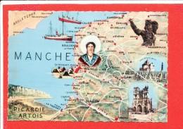 PICARDIE ARTOIS Cpsm  Carte Géographique   Amiens Arras Doullens Etc        5 CAP - Maps