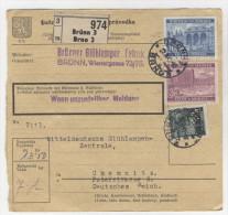 B�hmen M�hren Michel No. 33 , 55 , 60 auf Paketkarte