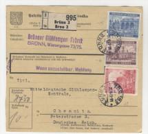 B�hmen M�hren Michel No. 30 , 58 , 60 auf Paketkarte
