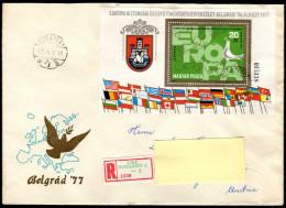 UNGARN 1977 - Flaggen Der KSZE Mitglieder In Europa - Block 126A Reko Brief - Briefe