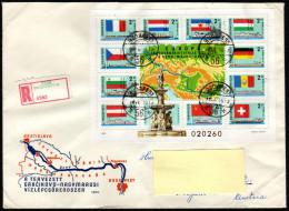 UNGARN 1977 - Flaggen Der Zur Donau - Kommission Gehörenden Länder - Block 128A Reko Brief - Briefe