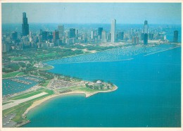 RARE CHICAGO THIS AERIAL VIEW OF THE CITY FROM LAKE MICHIGAN SHOWS THE DRAMATIC SKYLINE - Chicago