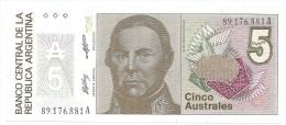 A . 1986 / 1989 - NEUF - 5  AUSTRALES - N° 89.176.881 A - - Argentine