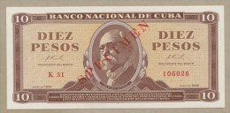 Cuba - 10 pesos  1966  SPECIMEN  P101  Uncirculated  ( Banknotes )