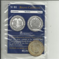 """SPAIN - RECENT REPRODUCTION OF 1 COIN OF REYES CATOLICOS IN SEALED ENVELOPE DISTRIBUTED BY DAILY """"EL PAIS"""" NR.01 ISSUE - Monedas & Billetes"""