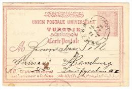 Türkei - Ganzsache 20 Paras 14.3.1893 Smyrne Nach Hamburg Mit Rückseitig Ambulant Stempel - 1837-1914 Smyrna