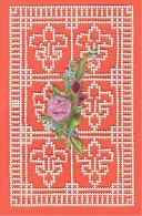 24328 Image Pieuse -dentelle Canivet Decoupis - Fleurs De Lys, Rose