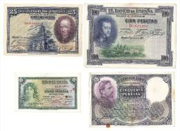 4 Billetes - 100 Pts-50 Pts-25 Pts-5 Pts - Spain