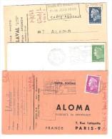 Lot De 3 Lettres / Cartes Commerciales Avec Marianne De CHEFFER Période 1968, 1969 & 1971 Obl FLAMMES, Ensemble TB - 1967-70 Marianne Van Cheffer