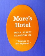 HOTEL MOTEL PENSION MORES INDIA SCOTLAND MINI STICKER LUGGAGE LABEL ETIQUETTE AUFKLEBER EDINBURGH GLASGOW - Hotel Labels