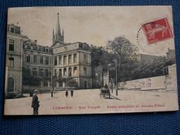 """"""""""" CPA  LIMOGES  //  RUE  TURGOT - ECOLE  DE  JEUNES  FILLES """"""""cachet Perlé Landouge - Limoges"""