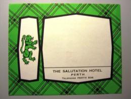 HOTEL MOTEL PENSION SALUTATION PERTH SCOTLAND STICKER LUGGAGE LABEL ETIQUETTE AUFKLEBER EDINBURGH GLASGOW - Hotel Labels