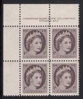 Canada MNH Scott #337 1c Queen Elizabeth II - Wildling Portrait - Plate No.2, Upper Left - Num. Planches & Inscriptions Marge