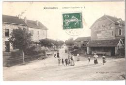 Chalindrey (Longeau-Percey-Haute Marne)-1908-Avenue Gambetta-Café De L'Est-Restaurant-Epicerie-Coiffeur-Oblit. Bernay - Chalindrey