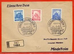 BOHEME ET MORAVIE LETTRE RECOMMANDEE DE 1941 DE PRAGUE TRAINS - Bohemia Y Moravia