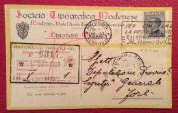 MODENA 1927  - CARTOLINA PUBBLICITARIA  SOCIETA' TIPOGRAFICA MODENESE - PER FORLIì - Werbepostkarten