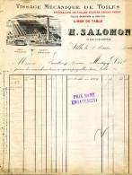 59.NORD.LILLE.TISSAGE MECANIQUE DE TOILES.H.SALOMON 67 RUE D'ANGLETERRE. - Textile & Vestimentaire