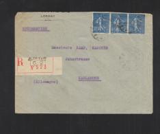 Lettre Recommande Lorient 1928 Pour L'Allemagne - Poststempel (Briefe)