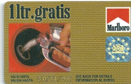 Gasoil - Gasoline - Oil Card MARLBORO - Free 1 L In Gibraltar - Promotional - Other Collections