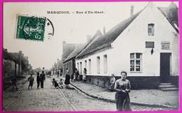 Cpa Marquion Rue D'en Haut Débit De Tabac Belle Animation 1908 Carte Postale Nord Pas De Calais Proche Cambrai 62 - France