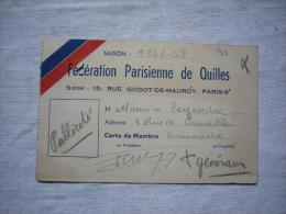 Carte Fédération Parisienne De Quilles 1947/48 - Organizations