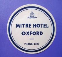 HOTEL PENSION MOTOR MITRE OXFORD UK ENGLAND GREAT BRITAIN STICKER DECAL LUGGAGE LABEL ETIQUETTE AUFKLEBER - Hotel Labels