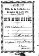 77--La FERTE-GAUCHER-Prix Assuidité D´Arthur Paillart,Ecole De Garçons 1927 Directeurr DELMONT - Diplômes & Bulletins Scolaires