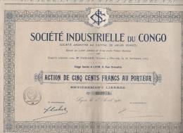 SOCIETE INDUSTRIELLE DU CONGO- ACTION DE 500 FRANCS -DIVISE EN 1200 ACTIONS - 1920 - Industrie