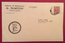 PARMA 1931 - CARTOLINA PUBBLICITARIA G.MARTINI - FABBRICA DI RUBINETTERIE - Werbepostkarten