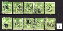 OBLITÉRATION JOUR DE L'AN-  SELECTION 10 TIMBRES TYPE SAGE  OBLITÉRÉS CHIFFRES CERCLÉS-  LOT PAS COURANT - 1898-1900 Sage (Type III)
