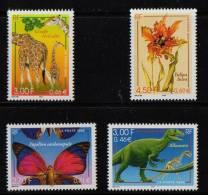 FRANCE 2000 1 Série (6) YT N° 3332** A 3335** Papillon Girafe Allosaure Tulipa - France