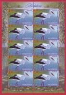 Moldova, Sheetlet, Fauna Of Moldova - White Stork, 2014 - Moldavie