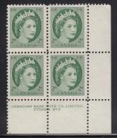 Canada MNH Scott #338 2c Queen Elizabeth II - Wildling Portrait - Plate #2, Lower Right - Num. Planches & Inscriptions Marge